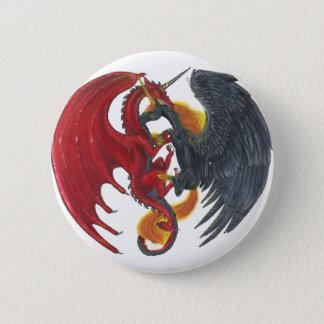 Schwarzes Feuer-Einhorn und roter Drache Runder Button 5,7 Cm