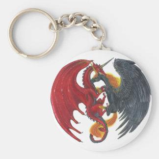 Schwarzes Feuer-Einhorn und roter Drache Schlüsselanhänger