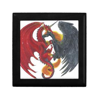 Schwarzes Feuer-Einhorn und roter Drache Schmuckschachtel