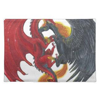 Schwarzes Feuer-Einhorn und roter Drache Tischset