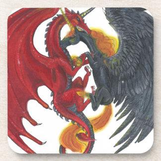 Schwarzes Feuer-Einhorn und roter Drache Untersetzer