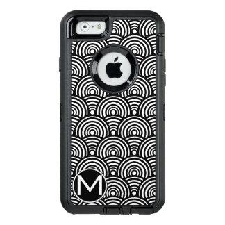 Schwarzes Fisch-Skala-Monogramm OtterBox iPhone 6/6s Hülle