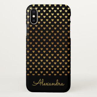 Schwarzes Folien-Herz-Muster und individueller iPhone X Hülle