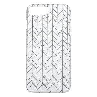 Schwarzes geometrisch auf weißem Iphone7 plus Fall iPhone 8 Plus/7 Plus Hülle