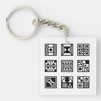Schwarzes geometrisches Stammes- Muster keychain Beidseitiger Quadratischer Acryl Schlüsselanhänger