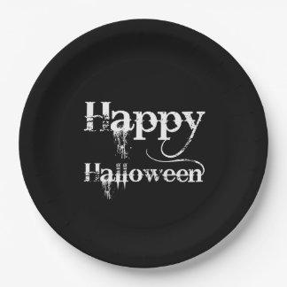 Schwarzes gespenstisches glückliches Halloween Pappteller