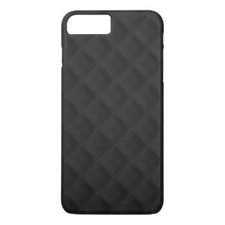 Schwarzes gestepptes Leder iPhone 8 Plus/7 Plus Hülle