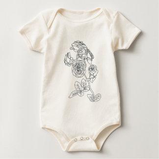 Schwarzes gezeichneter Rosen-Blumenstrauß Baby Strampler
