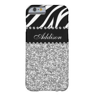 Schwarzes Glitzerzebra-diamante de imitación-Girly Barely There iPhone 6 Hülle