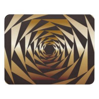 Schwarzes &Gold geometrischer Muster-Druck-Entwurf Türschild