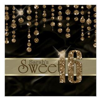 Schwarzes Gold ID260 Satin-Juwel-16. Geburtstag Poster