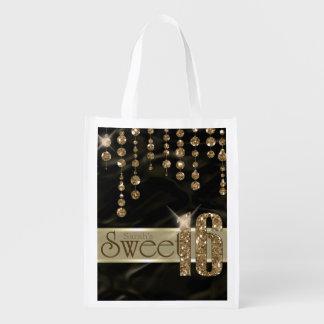 Schwarzes Gold ID260 Satin-Juwel-16. Geburtstag Wiederverwendbare Einkaufstasche