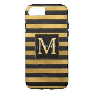 Schwarzes Gold Stripes Monogramm iPhone 8/7 Hülle
