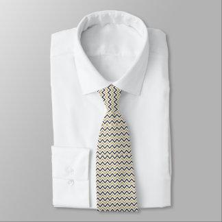 Schwarzes, Gold und weiße Zickzack Krawatte