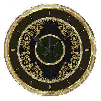 Schwarzes Gold und Wirbel-Elegante Wanduhr