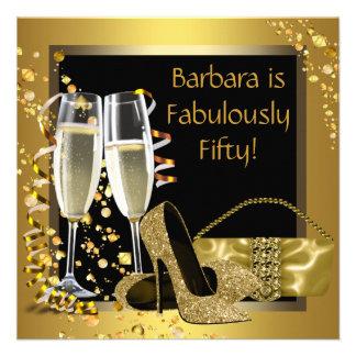 Schwarzes Goldchampagne-Geburtstags-Party Individuelle Einladungskarten