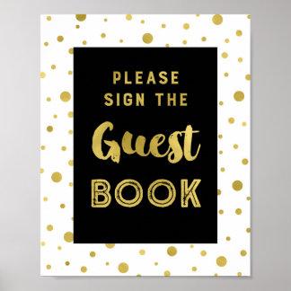 Schwarzes Goldconfetti-Gast-Buch-Hochzeits-Zeichen Poster