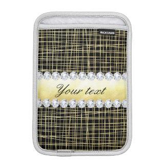 Schwarzes GoldCriss Querlinien und Diamanten Sleeve Für iPad Mini