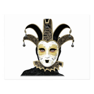 Schwarzes Goldgerade venezianische Carnivale Maske Postkarte