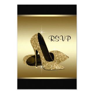 Schwarzes Goldhohe Fersen-Schuh UAWG 8,9 X 12,7 Cm Einladungskarte
