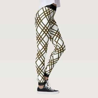Schwarzes Goldkreuz Stripes Muster Leggings