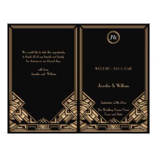 Schwarzes Goldkunst-Deko Gatsby Art-Hochzeits-Prog Flyer Druck
