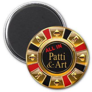 Schwarzes Goldrote Kasino-Chip-Bevorzugung Las Runder Magnet 5,7 Cm