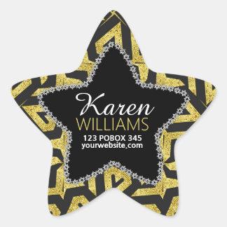 Schwarzes+Goldstern-Name-Aufkleber Stern-Aufkleber