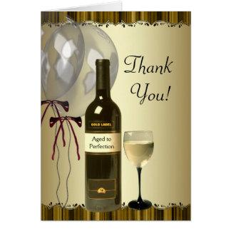 Schwarzes Goldwein-Flaschenglas dankt Ihnen Karten