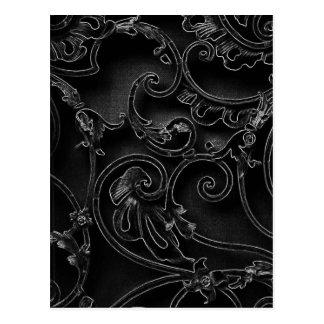Schwarzes gotisches barockes Strudelmuster Postkarte