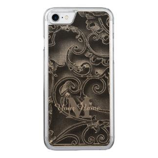 Schwarzes gotisches Mustermonogramm Carved iPhone 7 Hülle