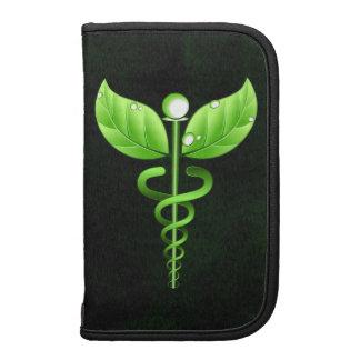 Schwarzes grünes Caduceus-Symbol-großer Folio Planer