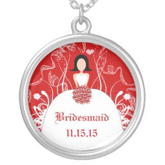 Schwarzes Haar-rote Hochzeits-1. Halskette Mit Rundem Anhänger