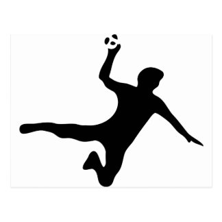schwarzes Handballspielerlogo Postkarte