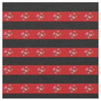 Schwarzes, heller roter VolksBlumenstreifen Stoff
