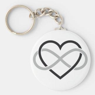 Schwarzes Herz mit Unendlichkeitszeichen Schlüsselanhänger
