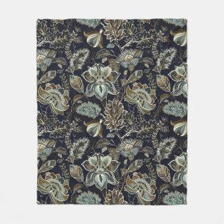 Schwarzes Hintergrundmuster antiker Paisley-Blumen Fleecedecke