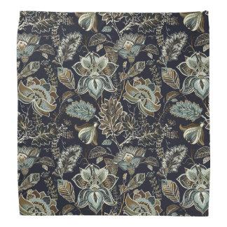 Schwarzes Hintergrundmuster antiker Paisley-Blumen Halstuch