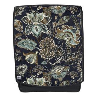 Schwarzes Hintergrundmuster antiker Paisley-Blumen Rucksack