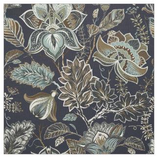 Schwarzes Hintergrundmuster antiker Paisley-Blumen Stoff