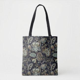 Schwarzes Hintergrundmuster antiker Paisley-Blumen Tasche