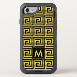 Schwarzes Imitat-Goldmonogramm-nobler Upscale OtterBox Defender iPhone 7 Hülle