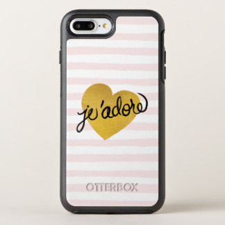 Schwarzes J'adore Zitat-| u. Goldherz OtterBox Symmetry iPhone 8 Plus/7 Plus Hülle
