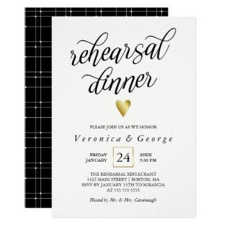Schwarzes Kalligraphie-Goldherz-Proben-Abendessen Karte