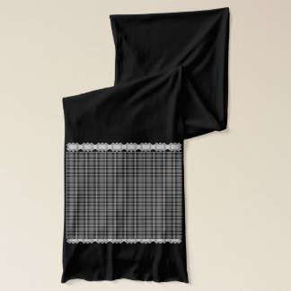 Schwarzes kariertes und Spitze Schal