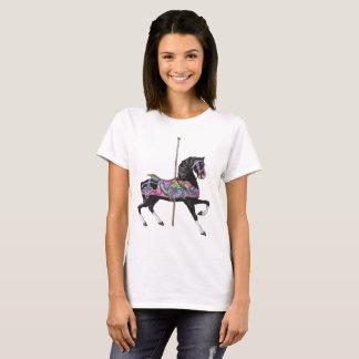 Schwarzes Karussell-Pferd T-Shirt