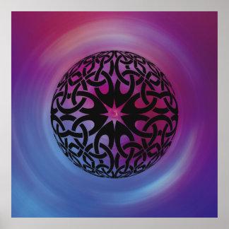 Schwarzes keltisches Knotenkreis Plakat