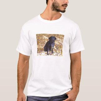 Schwarzes Labrador-Fall-Porträt T-Shirt