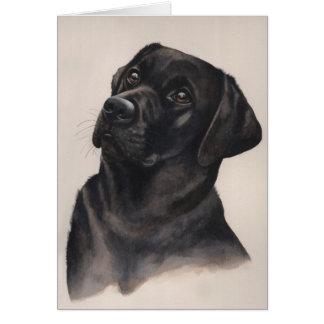 Schwarzes Labrador gemalt in der Wasserfarbe Karte