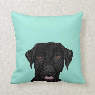 Schwarzes Labrador-Hundekissen - niedlicher Kissen